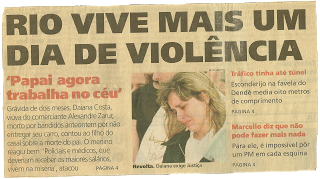 1998 - Manchete assassinato Alexandre Zarur