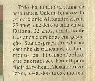 1998 Nota Jornal O Dia - Alexandre Zarur
