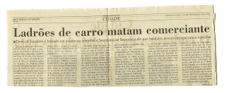 1998 - Manchete assassinato Alexandre Zarur - Violência